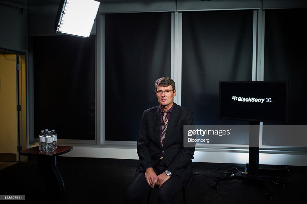 Thorsten Heins, president and chief executive officer of Research In Motion Ltd. (RIM), sits for a portrait in Waterloo, Ontario, Canada, on Thursday, Dec. 20, 2012. Subscribers that want enhanced services, including advanced security, will continue to pay a fee, while others who do not use such services 'are expected to generate less or no service revenue,' Heins said. Photographer: Ian Willms/Bloomberg via Getty Images