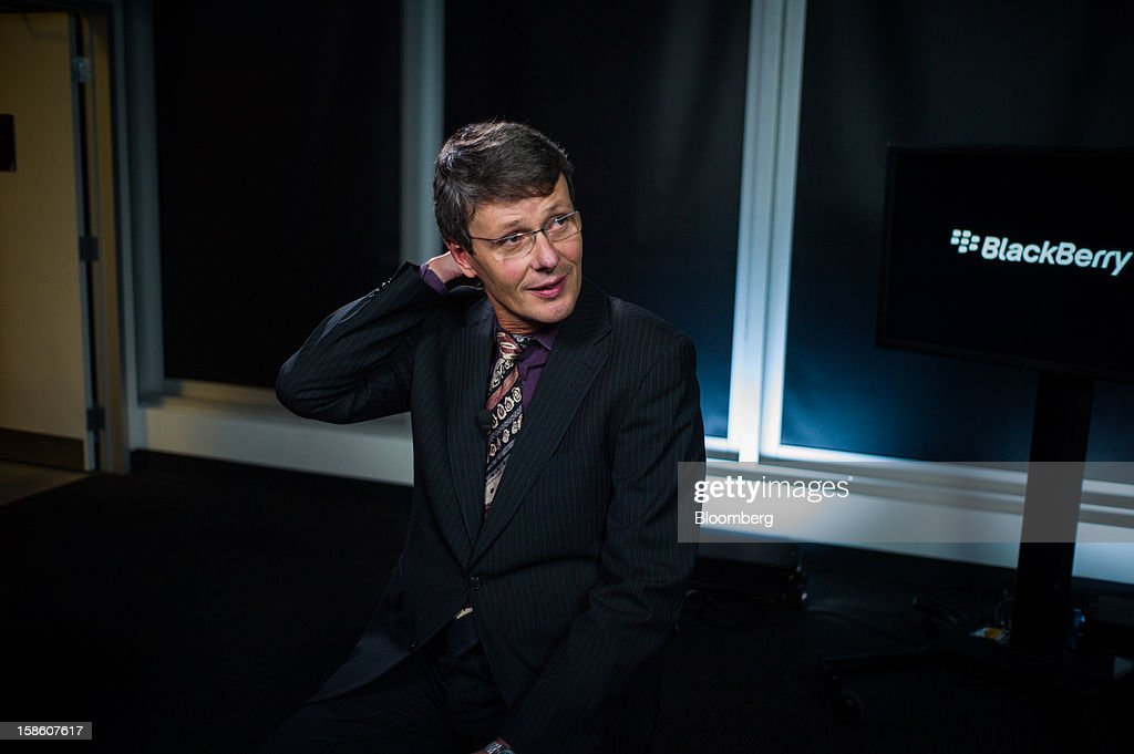 Thorsten Heins, president and chief executive officer of Research In Motion Ltd. (RIM), sits for a Bloomberg Television interview in Waterloo, Ontario, Canada, on Thursday, Dec. 20, 2012. Subscribers that want enhanced services, including advanced security, will continue to pay a fee, while others who do not use such services 'are expected to generate less or no service revenue,' Heins said. Photographer: Ian Willms/Bloomberg via Getty Images