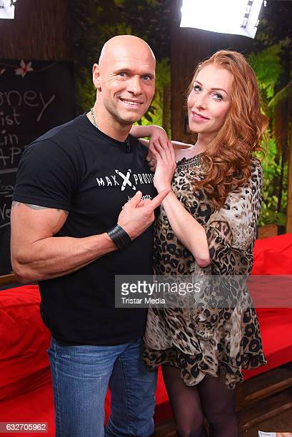 Thorsten Legat and Georgina Fleur Buelowius at the 'Ich bin ein Star HOlt mich hier raus' event hosted by BILD on January 25 2017 in Berlin Germany