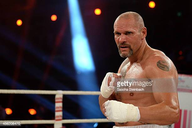 Thorsten Legat poses after his fight against Trooper Da Don during the 'Das Grosse Prosieben Promiboxen' tv show at Castello on September 27 2014 in...