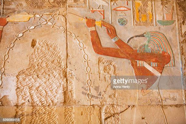 Thoth and vandalised image of Hatshepsut
