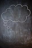 Thought bubble on blackboard