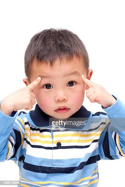 Thoughtful Asian Boy isolated on white background