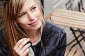 Thoughtful and beautiful blond woman, close up