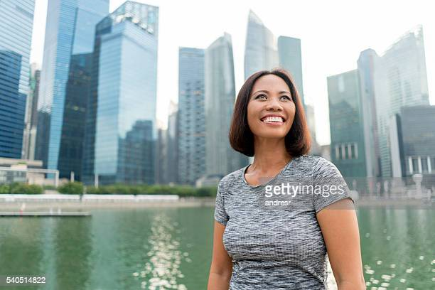 Thoughtful business woman in Singapore