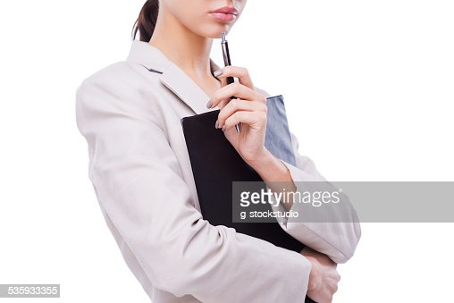 Thoughtful businesswoman. : Stock Photo