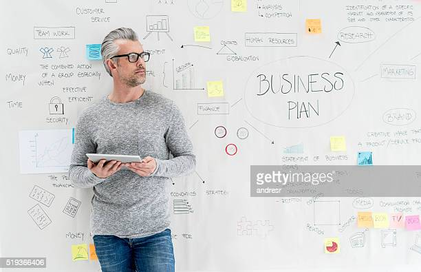 Thoughtful man creating a business plan