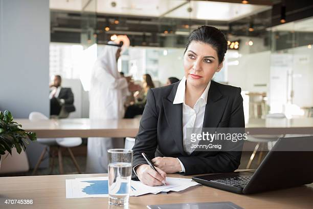 Thoughtful Middle Eastern businesswoman in modern office
