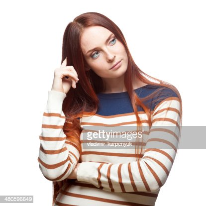 thoughtful red haired girl : Stock Photo
