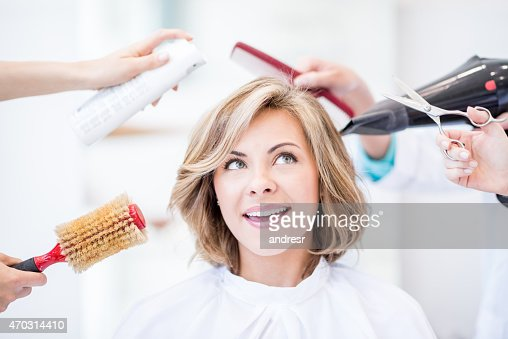 Thoughtful woman at the hair salon