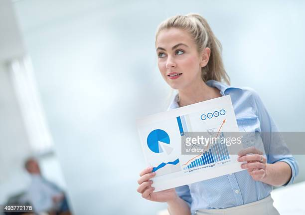 Thoughtful woman making a business presentation