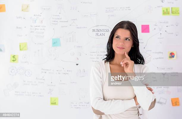 Thoughtful woman sketching a business plan