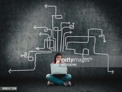 Thoughtful woman using laptop next to a wall painted with arrows leading to different directions. : Stock Photo
