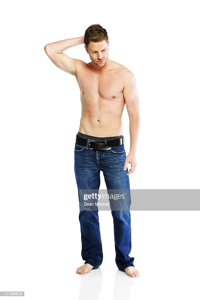 Thoughtful young guy with nice body