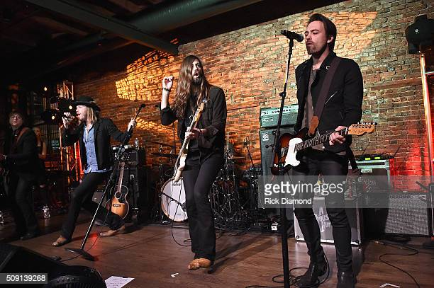 Thousand Horses' Bill Satcher Michael Hobby Graham DeLoach and Zach Brown perform during the Big Machine Label Group CRS Bash with Steven Tyler A...