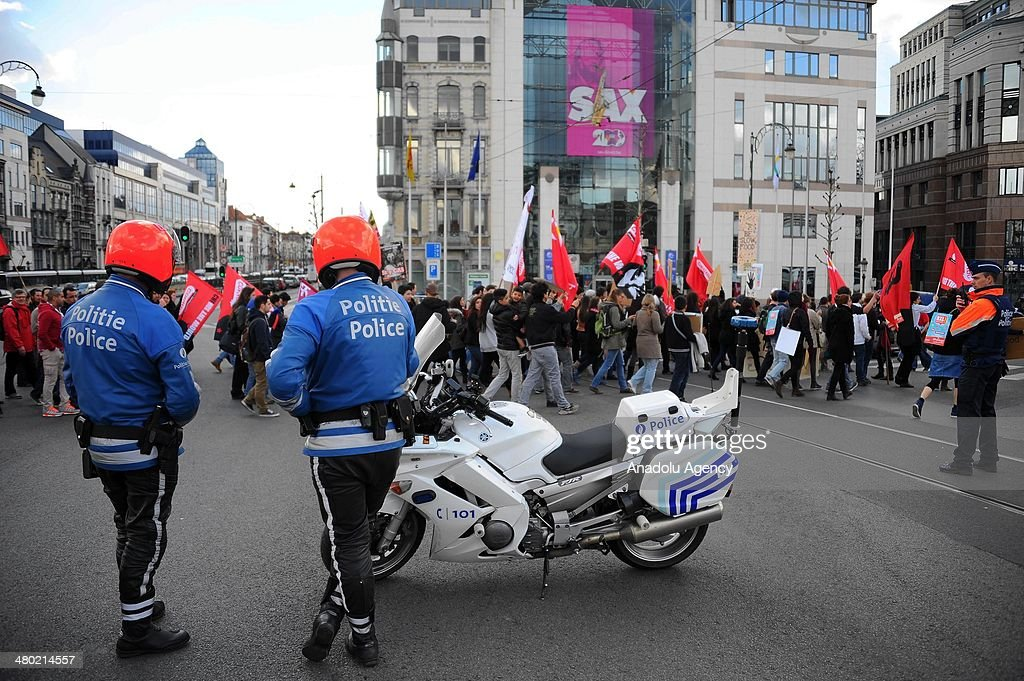 Thousand of people attend a demonstration of 'Social Plan Walk' to protest the government's fiscal austerity policy on March 23, 2014 in Brussels, Belgium.