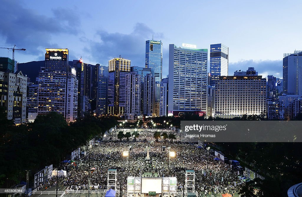 Thousand of people gather in Victoria Park to mark the 25th anniversary of Tiananmen Square protests with a candlelight vigil 2014 in Hong Kong In...