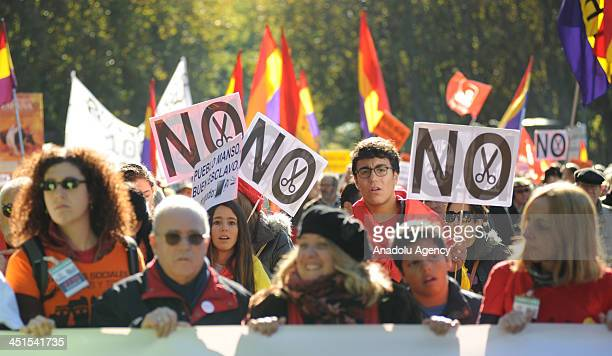 Thousands ask for the resignation of the government during the protest march against the austerity policies on November 23 2013 in Madrid Spain