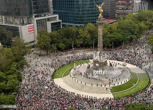 Thousands fans of the Mexican Olympic team celebrate after Mexico won the Gold in the London 2012 Olympic Games Men's football event at the...