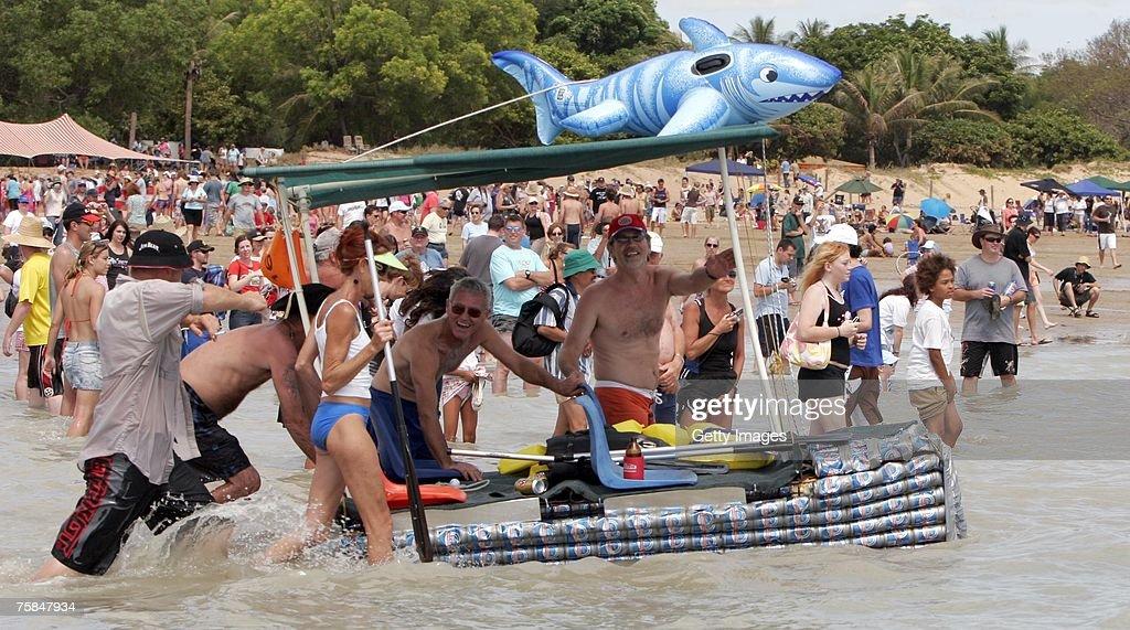 Thousands flock to Darwin's Mindal beach during the annual Darwin Beer Can Regatta July 29 2007 in Darwin Australia The regatta started as a...