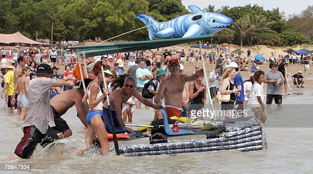 Thousands flock to Darwin's Mindal beach during the annual Darwin Beer Can Regatta July 29 2007 in Darwin Australia The regatta started as a...