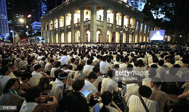 Thousands gather against the controversial Article 23 law outside Hong Kong's Legislative Council building 09 July 2003 Thousands of Hong Kong people...