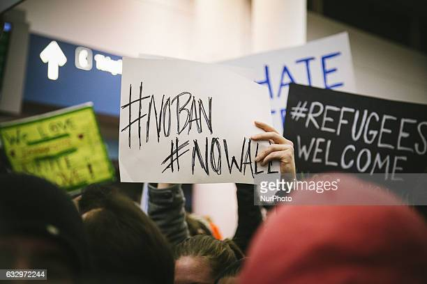 Thousands gather at O'hare International Airport in Chicago on January 28 2017 to protest Trump's Muslim Ban and demand the release of all detainees
