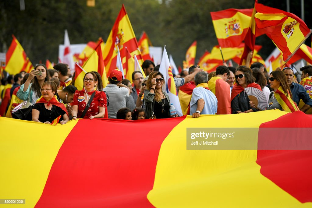 Thousands gather in Barcelona for a Spanish National Day Rally on October 12, 2017 in Barcelona, Spain. Spain marked its National Day with a show of unity by opponents of Catalonian independence, a day after the central government gave the region's separatist leader Carles Puigdemont until next week to clarify whether he intends to push ahead with separation.