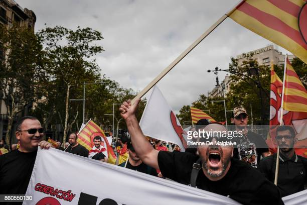 Thousands gather in Barcelona for a Spanish National Day Rally on October 12 2017 in Barcelona Spain Among them a group from Generacion Identitaria...