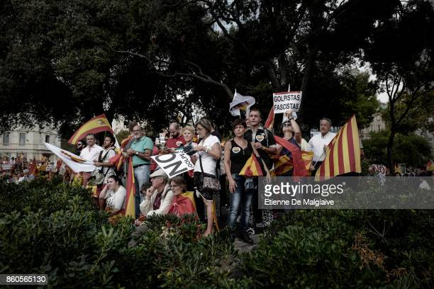 Thousands gather in Barcelona for a Spanish National Day Rally on October 12 2017 in Barcelona Spain Spain marked its National Day with a show of...