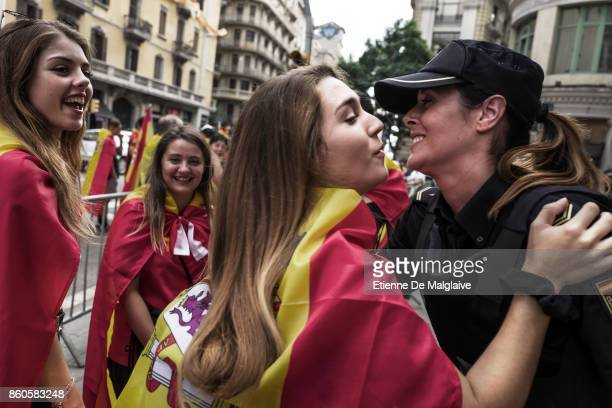 Thousands gather in Barcelona for a Spanish National Day Rally on October 12 2017 in Barcelona Spain As the rally disband some prounion demonstrators...