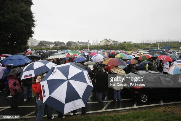 Thousands gather in support of workers and former employees at Waterford Crystal who spent the night occupying the main visitor centre at the...
