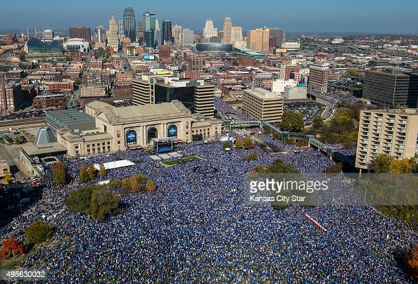 Thousands gather on Nov 3 2015 during the Royal Celebration rally in downtown Kansas City Mo commemorating the Kansas City Royals' 2015 World Series...