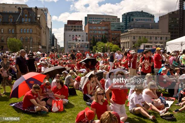 Thousands gather on Parliament Hill to celebrate Canada Day on July 1 2012 in Ottawa Canada Ottawa the captial of Canada is home to the largest...