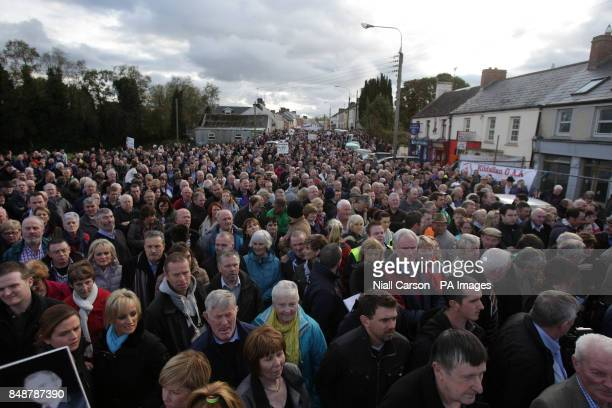 Thousands gather to support bankrupt businessman Sean Quinn at a rally in Ballyconnell Co Cavan