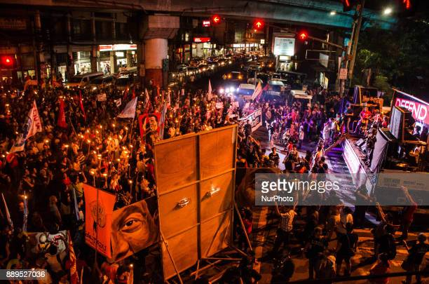 Thousands of activists gather in Mendiola Peace Arch to to fight for human rights during the International Human Rights Day in Manila Philippines on...