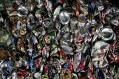 Thousands of aluminium cans are pictured ready for recycling at a recycling centre on April 11 2006 in Cheshire England The world's population is...