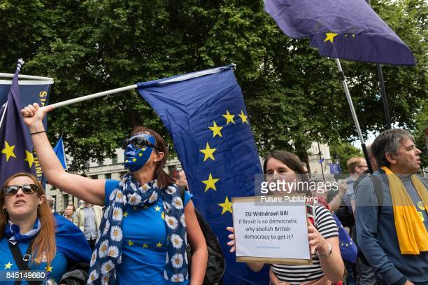 Thousands of antiBrexit supporters take part in People's March for Europe through central London followed by a rally in Parliament Square...
