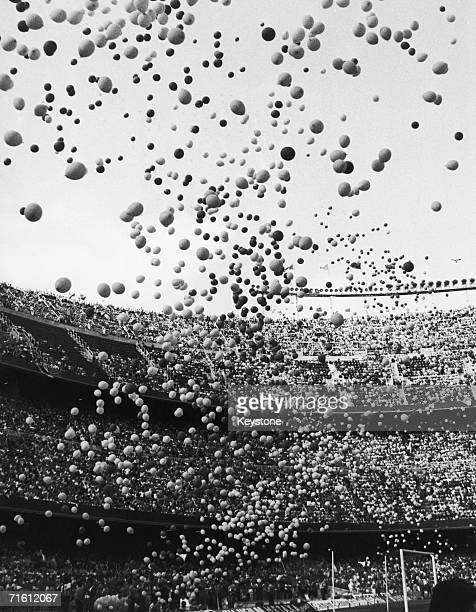 Thousands of balloons are released into the air at the Camp Nou stadium in Barcelona at the start of the FIFA World Cup 14th June 1982