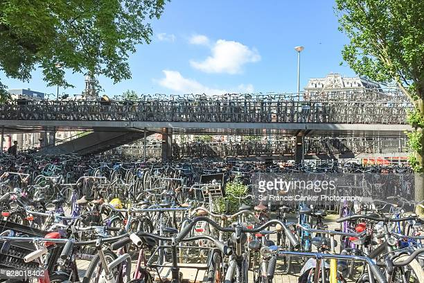 Thousands of bicycles parked in a public bicycle parking lot in Amsterdam, Netherlands