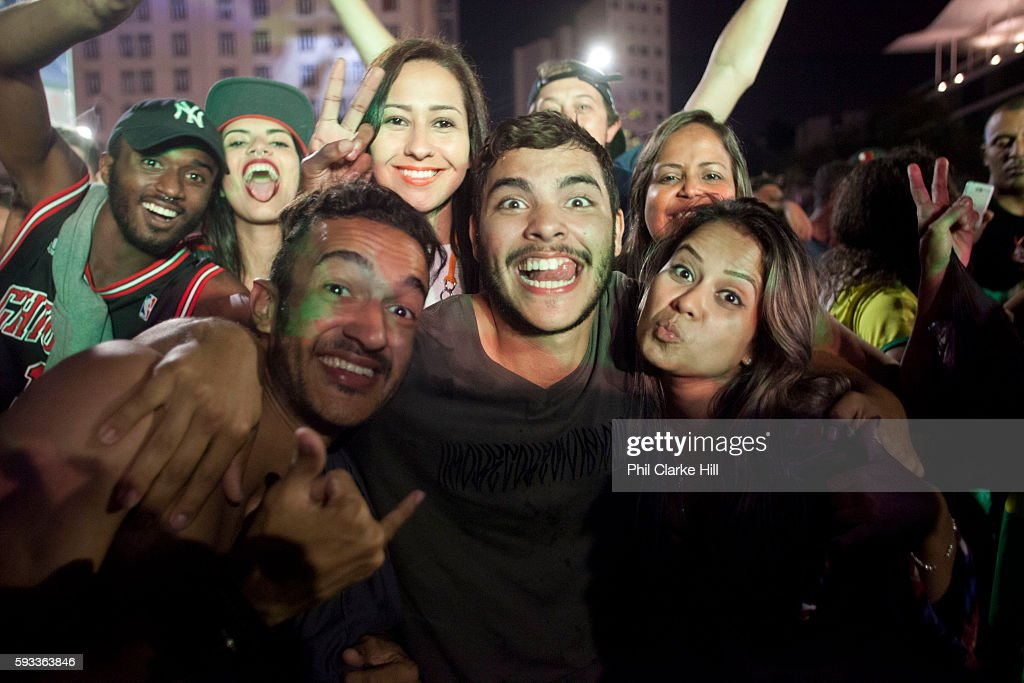 Thousands of Brazilians and some foreigners watched the Brazil vs Germany Olympic football final match in Praca Maua on the Olympic boulevard Rio de...