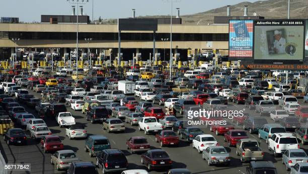 Thousands of cars line up to enter the US 27 January 2006 at the San Ysidro Port of Entry in San Ysidro CA US Customs and Border Patrol officials...
