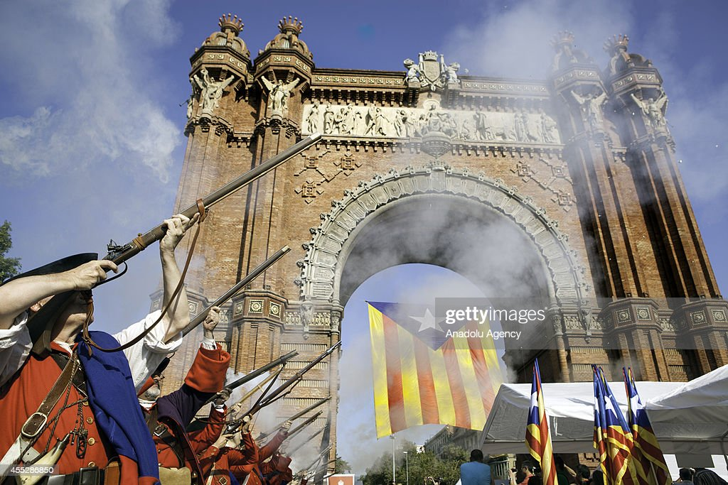 Thousands of Catalans attend the celebrations for the Catalan National Day demanding a future referendum for independence from Spain in Barcelona...