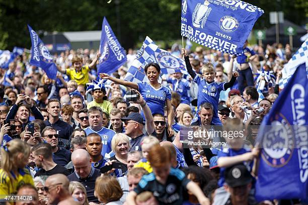 Thousands of Chelsea FC fans fill the streets around Stamford Bridge to celebrate at the Chelsea FC victory parade on May 25 2015 in London England...