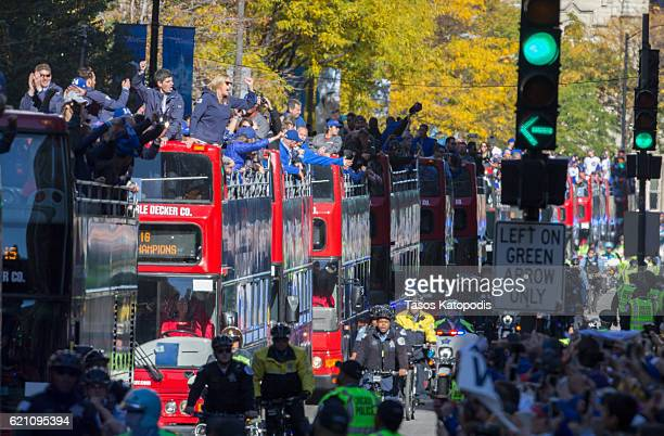 Thousands of Chicago Cubs fans pack Michigan Avenue during the Chicago Cubs 2016 World Series victory parade on November 4 2016 in Chicago Illinois...