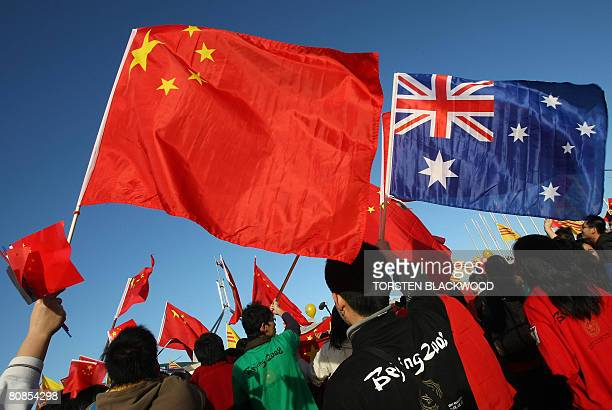 Thousands of Chinese supporters rally outside Parliament House during the Beijing 2008 Olympic torch relay through Canberra on April 24 2008 ProTibet...