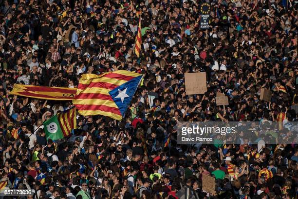 Thousands of citizens gather in Plaza Universitat during a regional general strike to protest against the violence that marred Sunday's referendum...