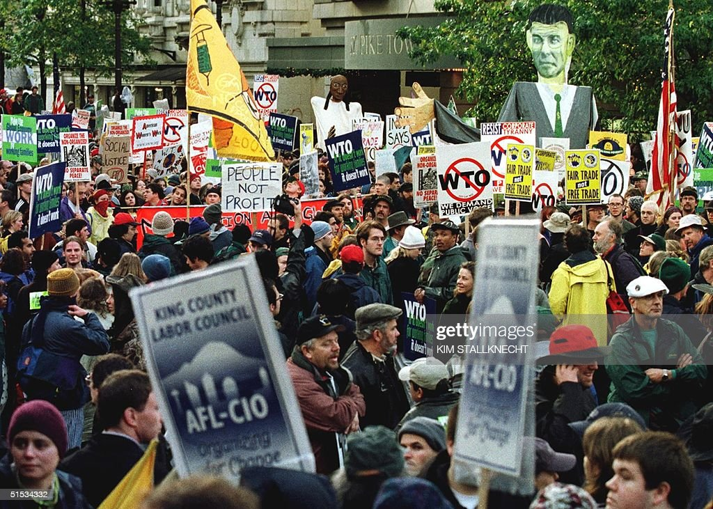 Thousands of demonstrators from labor organizations and other antiWorld Trade Organization groups march in downtown Seattle to protest the World...