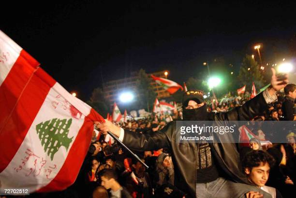Thousands of demonstrators gather for a second night opposite Government buildings December 2 2006 in downtown Beirut Lebanon Opposition...