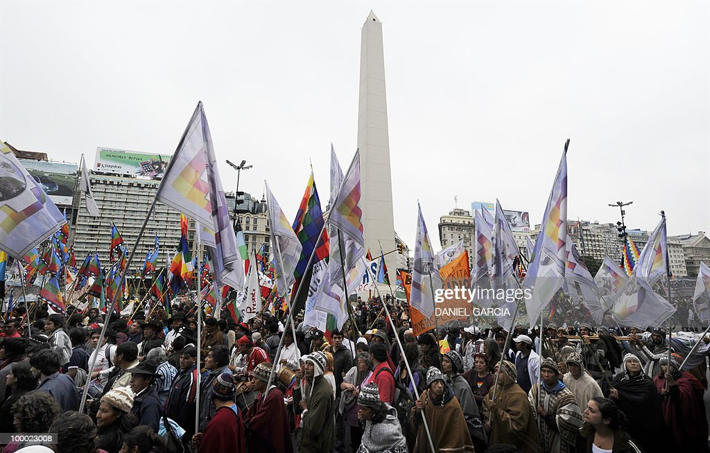 Thousands of demonstrators participate in the National Indigenous March that arrived in the Plaza de Mayo in Buenos Aires after traveling some 2,000 km across the country, as part of the commemorations for the bicentennial of the Independence and to claim for a multicultural state that respects the rights of native peoples.